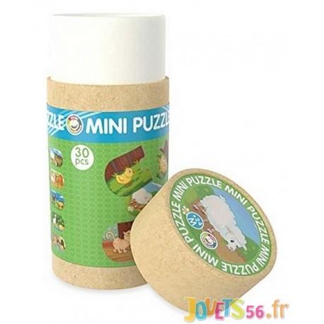 TUBE MINI PUZZLE FERME 30 PCES BOIS - Jouets56.fr - Magasin jeux et jouets dans Morbihan en Bretagne