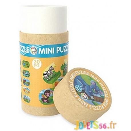 TUBE MINI PUZZLE JUNGLE 30 PCES BOIS - Jouets56.fr - Magasin jeux et jouets dans Morbihan en Bretagne
