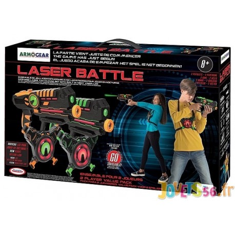 LASER BATTLE 2 PISTOLETS LASER ARMOGEAR VERT ORANGE - Jouets56.fr - Magasin jeux et jouets dans Morbihan en Bretagne