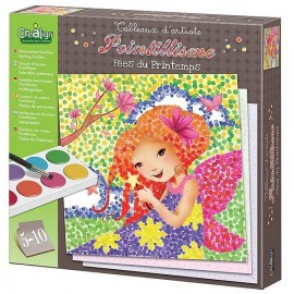 POINTILLISME FEES DU PRINTEMPS TABLEAUX D'ARTISTE