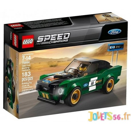 75884 FORD MUSTANG FASTBACK 1968 LEGO SPEED CHAMPIONS - Jouets56.fr - Magasin Jeux et Jouets dans le Morbihan en Bretagne