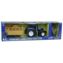 TRACTEUR NEW HOLLAND T7074 RADIOCOM AVEC REMORQUE