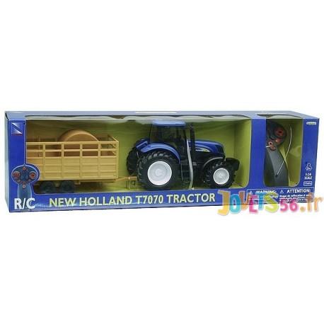 Tracteur Holland T7074 Avec New Remorque Radiocom c53R4jqAL