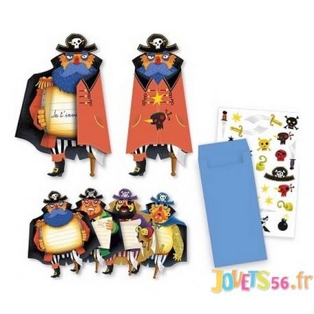 CARTES INVITATIONS PIRATES X8 - Jouets56.fr - Magasin jeux et jouets dans Morbihan en Bretagne