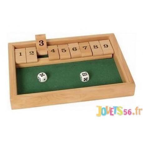 JEU SHUT THE BOX 9 EN BOIS - Jouets56.fr - Magasin jeux et jouets dans Morbihan en Bretagne