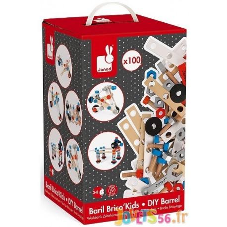 BARIL BRICO KIDS 100 PIECES - Jouets56.fr - Magasin jeux et jouets dans Morbihan en Bretagne