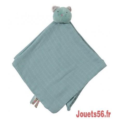 DOUDOU LANGE CHAT BLEU LES PACHATS-jouets-sajou-56