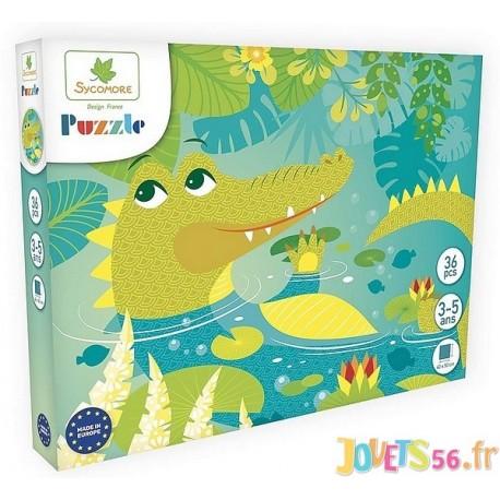 PUZZLE CROCODILE 36 PIECES 40X50CM - Jouets56.fr - Magasin jeux et jouets dans Morbihan en Bretagne