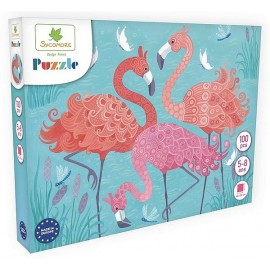 PUZZLE FLAMANTS ROSES 100 PIECES 40X50CM