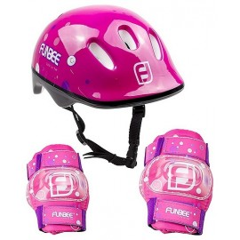 CASQUE ROSE AVEC PROTECTIONS COUDIERES GENOUILLERES FILLE