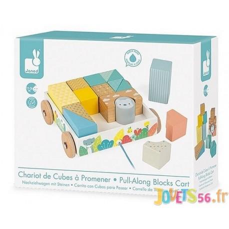 CHARIOT BOIS AVEC CUBES A PROMENER GAMME PURE - Jouets56.fr - Magasin jeux et jouets dans Morbihan en Bretagne