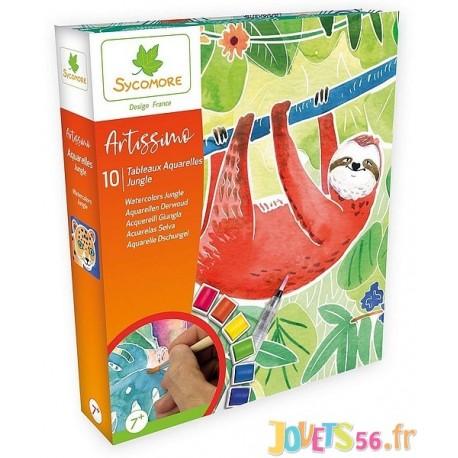 COFFRET AQUARELLE JUNGLE ARTISSIMO 10 TABLEAUX - Jouets56.fr - Magasin jeux et jouets dans Morbihan en Bretagne