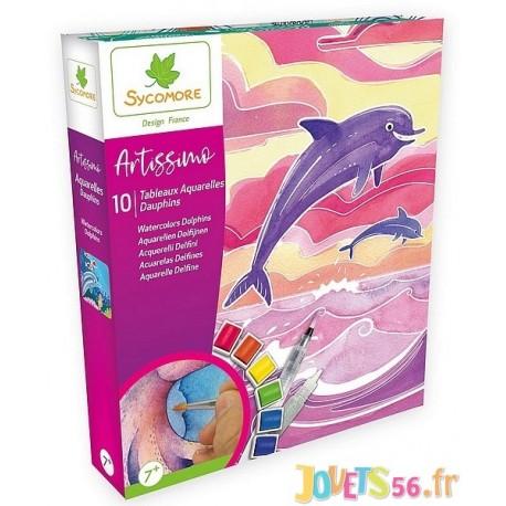 COFFRET AQUARELLE MER DAUPHINS ARTISSIMO 10 TABLEAUX - Jouets56.fr - Magasin jeux et jouets dans Morbihan en Bretagne