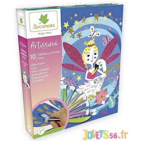 COFFRET PAILLETTES FEES ARTISSIMO 10 TABLEAUX - Jouets56.fr - Magasin jeux et jouets dans Morbihan en Bretagne