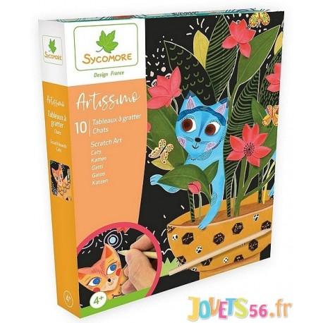 COFFRET SCRATCH ART CHATS ARTISSIMO 10 TABLEAUX - Jouets56.fr - Magasin jeux et jouets dans Morbihan en Bretagne
