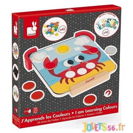 J'APPRENDS LES COULEURS PLATEAU ET PASTILLES MAGNETIQUES BOIS - Jouets56.fr - Magasin jeux et jouets dans Morbihan en Bretagne