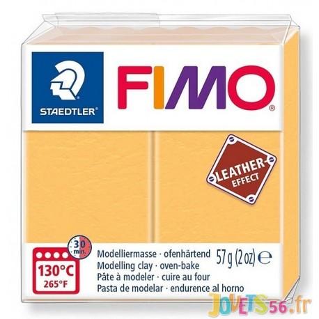 PATE FIMO 109 - EFFET CUIR JAUNE SAFRAN - Jouets56.fr - Magasin jeux et jouets dans Morbihan en Bretagne