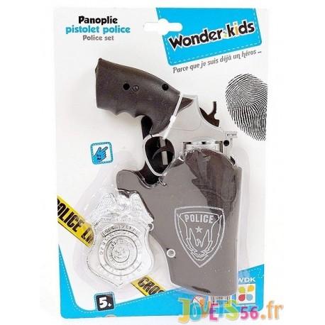 PANOPLIE PISTOLET POLICE 3 ACCESSOIRES - Jouets56.fr - Magasin jeux et jouets dans Morbihan en Bretagne