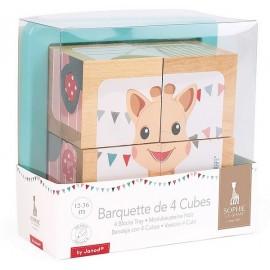 BARQUETTE 4 CUBES BOIS SOPHIE LA GIRAFE - Jouets56.fr - Magasin jeux et jouets dans Morbihan en Bretagne