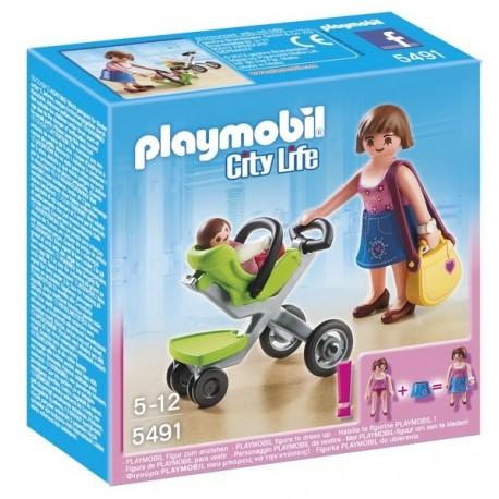 5491-MAMAN ET BEBE AVEC POUSSETTE-jouets-sajou-56