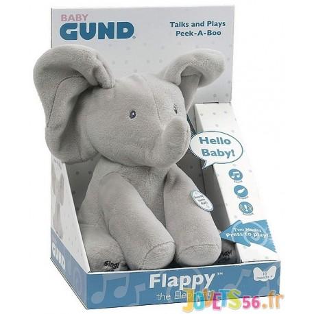 FLAPPY L'ELEPHANT CHANTE ET JOUE A CACHE CACHE - Jouets56.fr - Magasin jeux et jouets dans Morbihan en Bretagne