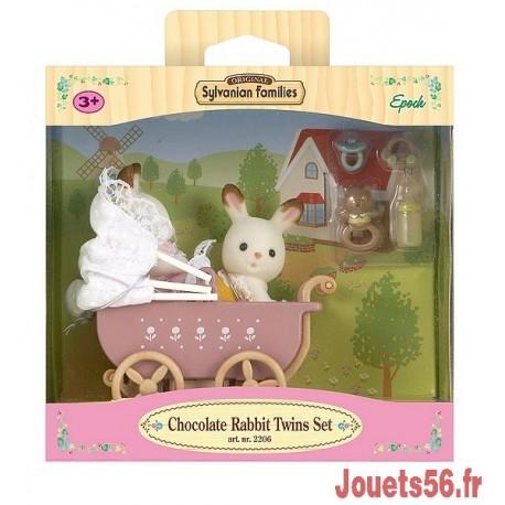 JUMEAUX LAPIN CHOCOLAT POUSSETTE DOUBLE SYLVANIAN-jouets-sajou-56