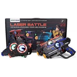 LASER BATTLE 2 PISTOLETS LASER ARMOGEAR ROUGE BLEU
