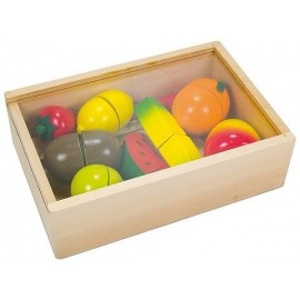 COFFRET FRUITS A DECOUPER 18 PIECES EN BOIS