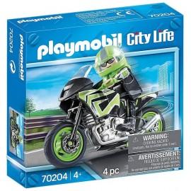 70204 PILOTE ET MOTO PLAYMOBIL CITY LIFE - Jouets56.fr - LiloJouets - Magasins jeux et jouets dans Morbihan en Bretagne