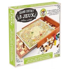 GRAND COFFRET 5 JEUX VINTAGE BOIS - Jouets56.fr - LiloJouets - Magasins jeux et jouets dans Morbihan en Bretagne
