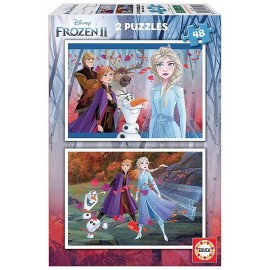 PUZZLE FROZEN2 2X48 PIECES REINE DES NEIGES 2