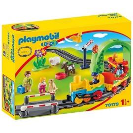 70179 TRAIN AVEC PASSAGERS ET CIRCUIT PLAYMOBIL 1.2.3 - Jouets56.fr - LiloJouets - Magasins jeux et jouets dans Morbihan en Bret