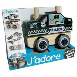 VOITURE POLICE EN BOIS VEHICULE J'ADORE ENCASTRABLE