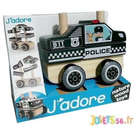 VOITURE POLICE EN BOIS VEHICULE J'ADORE ENCASTRABLE-LiloJouets-Magasins jeux et jouets dans Morbihan en Bretagne