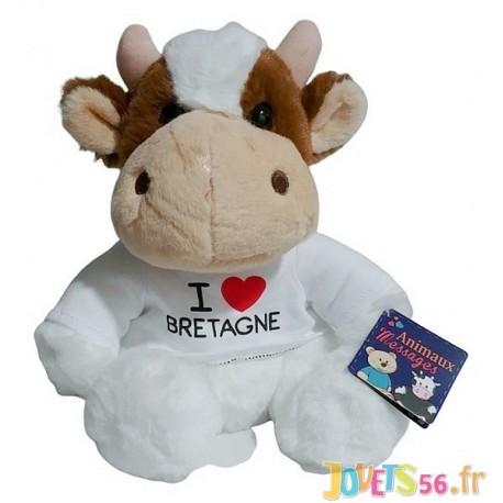 PELUCHE VACHE T-SHIRT I LOVE BRETAGNE 22CM-LiloJouets-Magasins jeux et jouets dans Morbihan en Bretagne