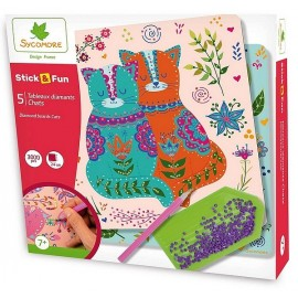 COFFRET DIAMANTS CHATS STICK&FUN 5 TABLEAUX 24X24CM