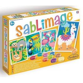 SABLIMAGE ANIMAUX SUD AMERICAINS COFFRET 4 TABLEAUX 25X18CM