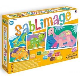 SABLIMAGE DINOSAURES COFFRET 4 TABLEAUX 25X18CM