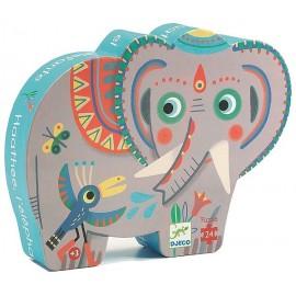 PUZZLE ELEPHANT D'ASIE 24 PCES SILHOUETTE