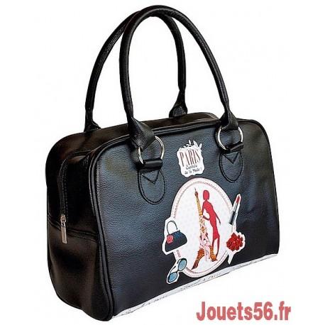 SAC BOWLING MLLE A PARIS NOIR POIS GRIS-jouets-sajou-56