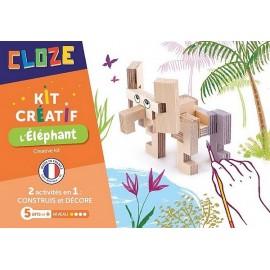 L'ELEPHANT KIT CREATIF CONSTRUCTION BOIS 13 PIECES A PEINDRE
