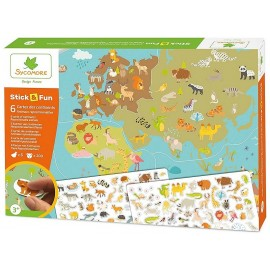 STICK&FUN 6 CARTES CONTINENTS ET STICKERS ANIMAUX REPOSITIONNABLES