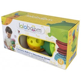 BALLES SENSORIELLES ET PERLES EDUCATIVES 12 PIECES LALABOOM