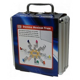 COFFRET DOMINOS TRAIN MEXICAIN DOUBLE 12 BOITE ALU