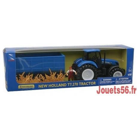 TRACTEUR NEW HOLLAND ET REMORQUE 1/32E-jouets-sajou-56