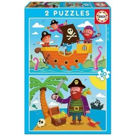 PUZZLE DESSINS PIRATES 2X20 PIECES