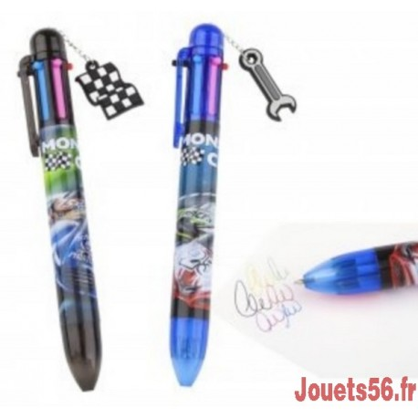 STYLO 6 COULEURS MONSTER CARS-jouets-sajou-56