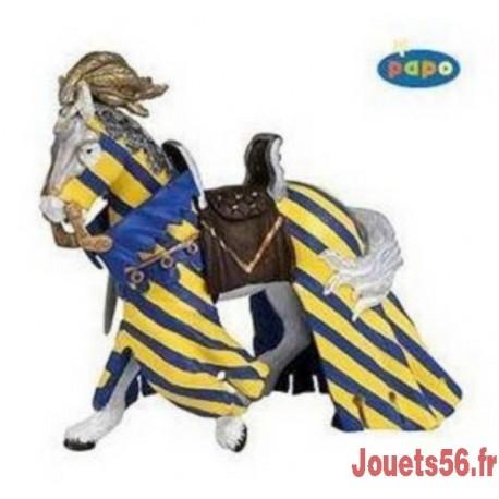 CHEVAL DE TOURNOI DRAPE BLEU FIGURINE 12CM-jouets-sajou-56