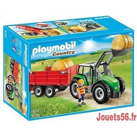 6130 TRACTEUR AVEC PELLE ET REMORQUE-jouets-sajou-56