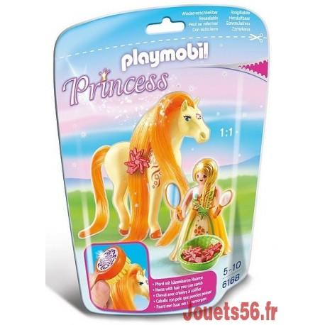 6168 PRINCESSE MIMOSA AVEC CHEVAL A COIFFER-jouets-sajou-56